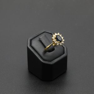 18 Carat YG Sapphire & Diamond Cluster Ring