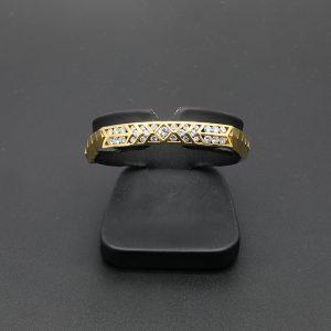 18 Carat YG Diamond Set Bangle