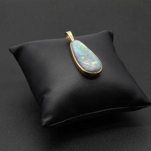 9 carat YG  Semi Black Solid Opal Pendant