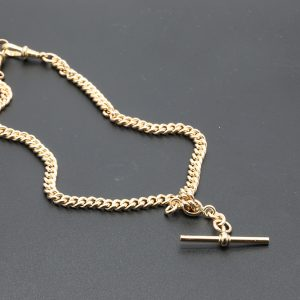 9 carat YG Vintage Fob Chain with T Bar
