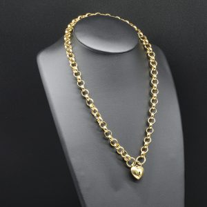 9 carat YG Belcher Link Chain with Heart Padlock
