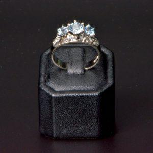 18 carat White Gold & Palladium Aquamarine and Diamond Ring