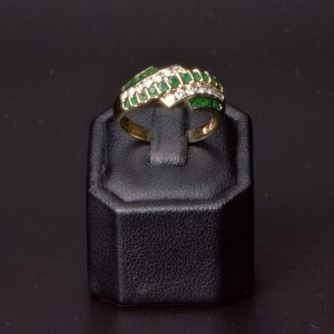 14 carat Yellow Gold  Natural Emerald & Diamond Ring