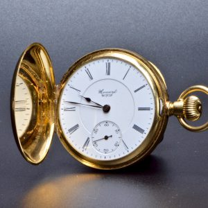 "18 Carat Full Hunter Pocket Watch ""Howard"" in original case"
