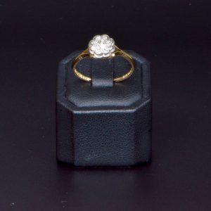 18 carat Vintage Yellow Gold Diamond Cluster Ring