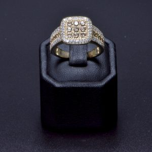 9 carat Yellow Gold Champagne and White Diamond Cluster Ring