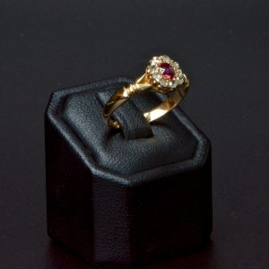 18 Carat Yellow Gold Antique Ruby & Diamond Ring