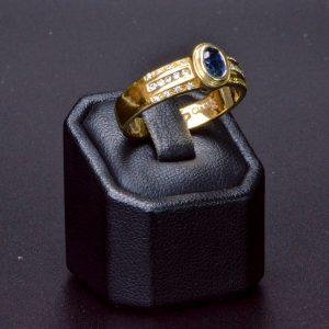 18 carat Two Tone Gold  Sapphire & Diamond Ring
