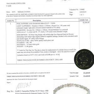 14 carat Pink Sapphire & Diamond Bracelet