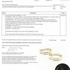 9 Carat Yellow Gold Diamond Hoop Earrings