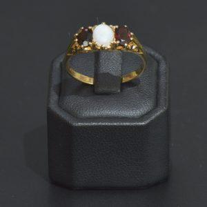 9 Carat Solid Opal & Garnet Ring